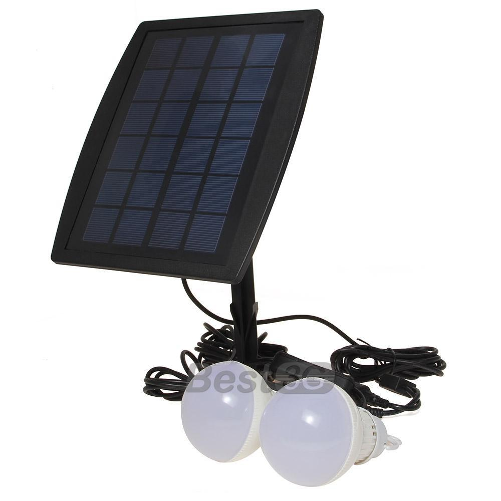 Outdoor Indoor Solar Powered Leds Lighting Two Bulbs
