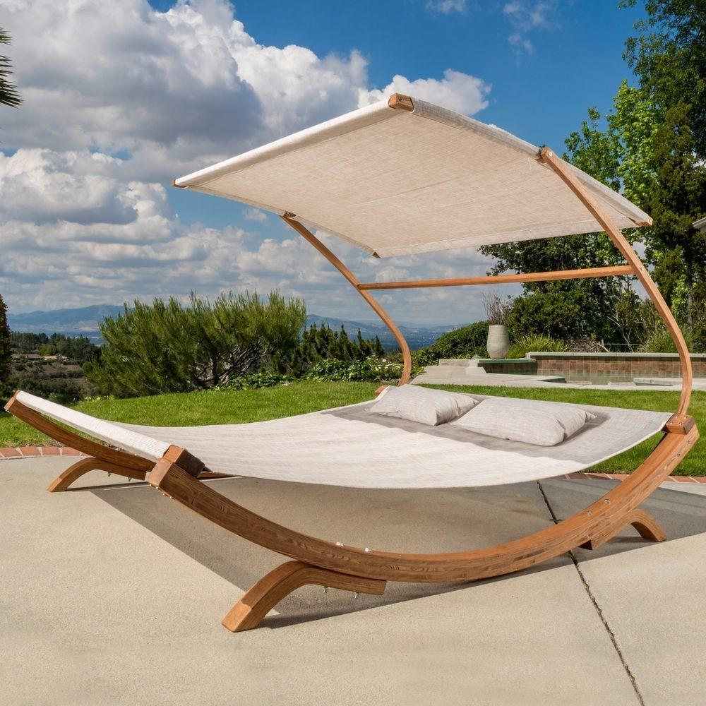 Outdoor Patio Lounge Daybed Hammock Adjustable Shade