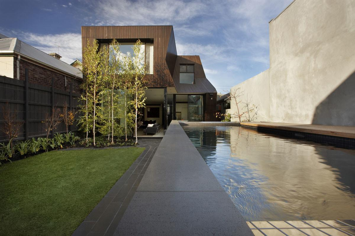 Outdoor Pool Garden Enclave House Melbourne