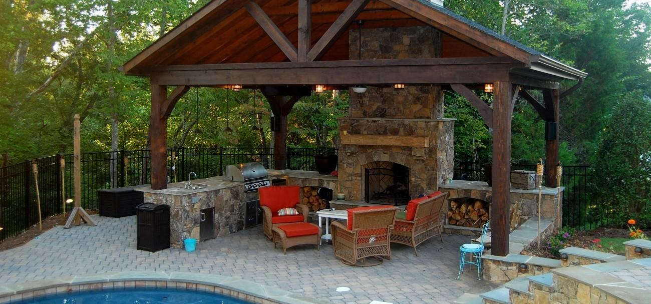 Outdoor Stone Fireplace Charlotte Masters Group