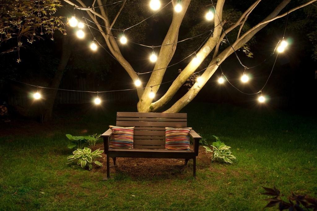 Outdoor String Light Clear Incandescent Bulb Black