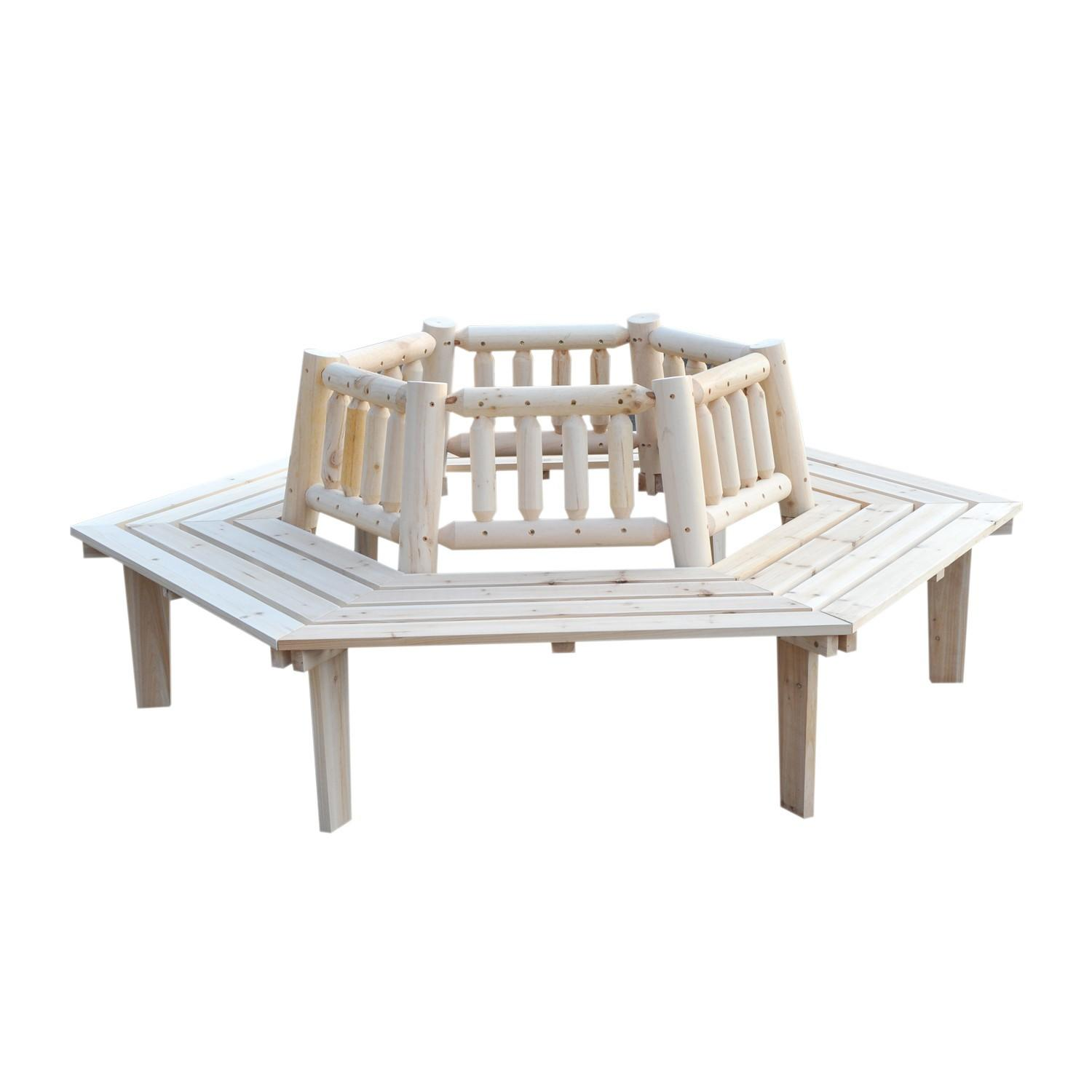 Outsunny Seat Garden Fir Tree Wrap Bench Clearance