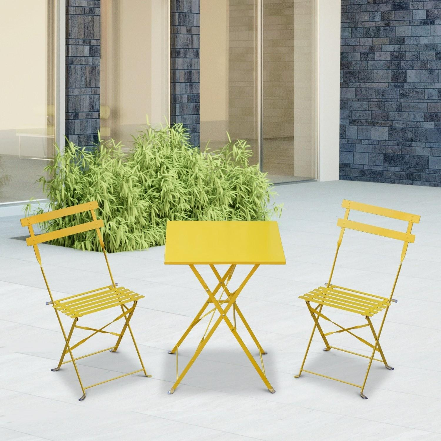 Outsunny Yellow Piece Bistro Set Square Table