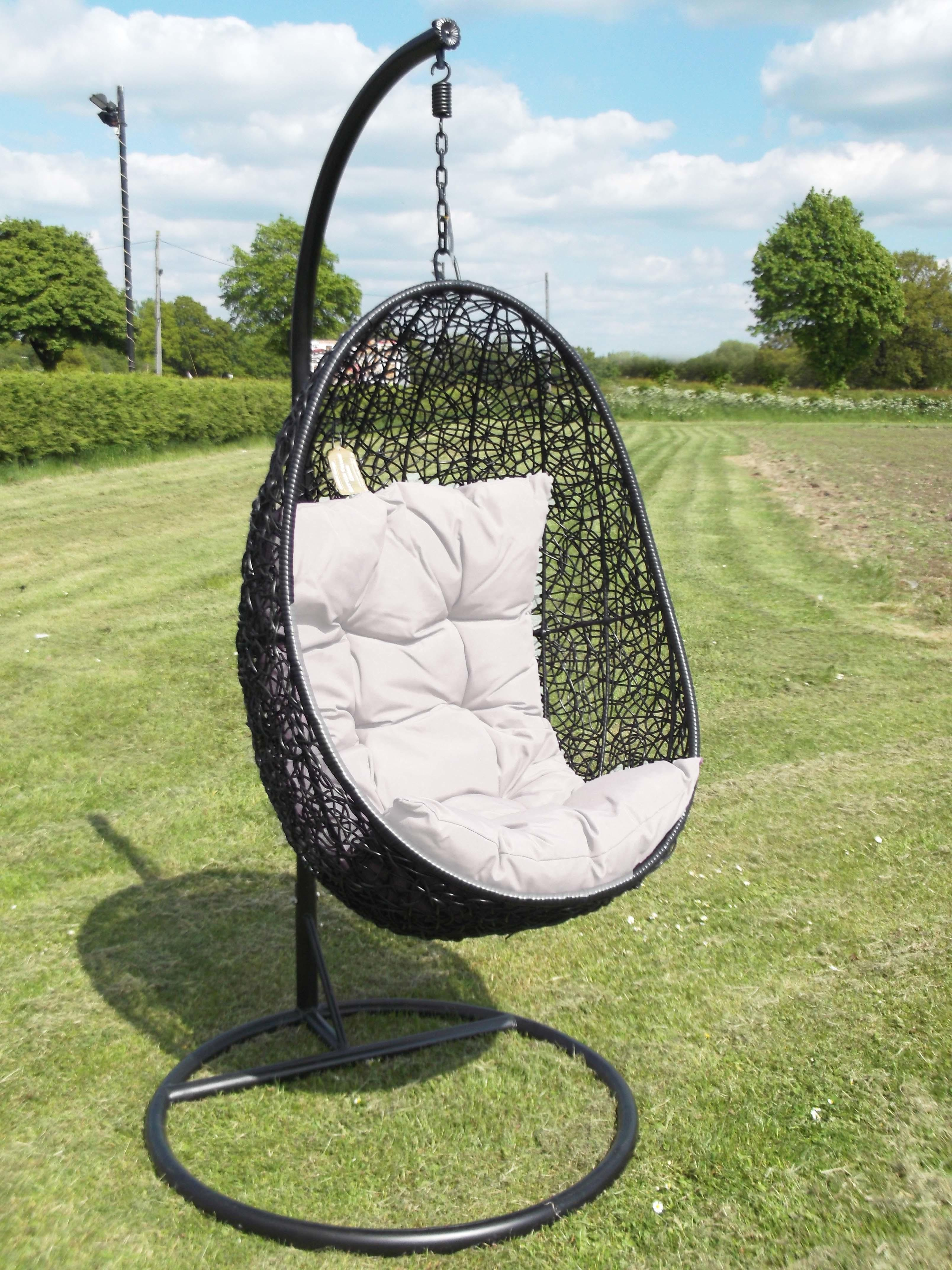 Oval Black Wicker Hanging Swing Chair White Cushion