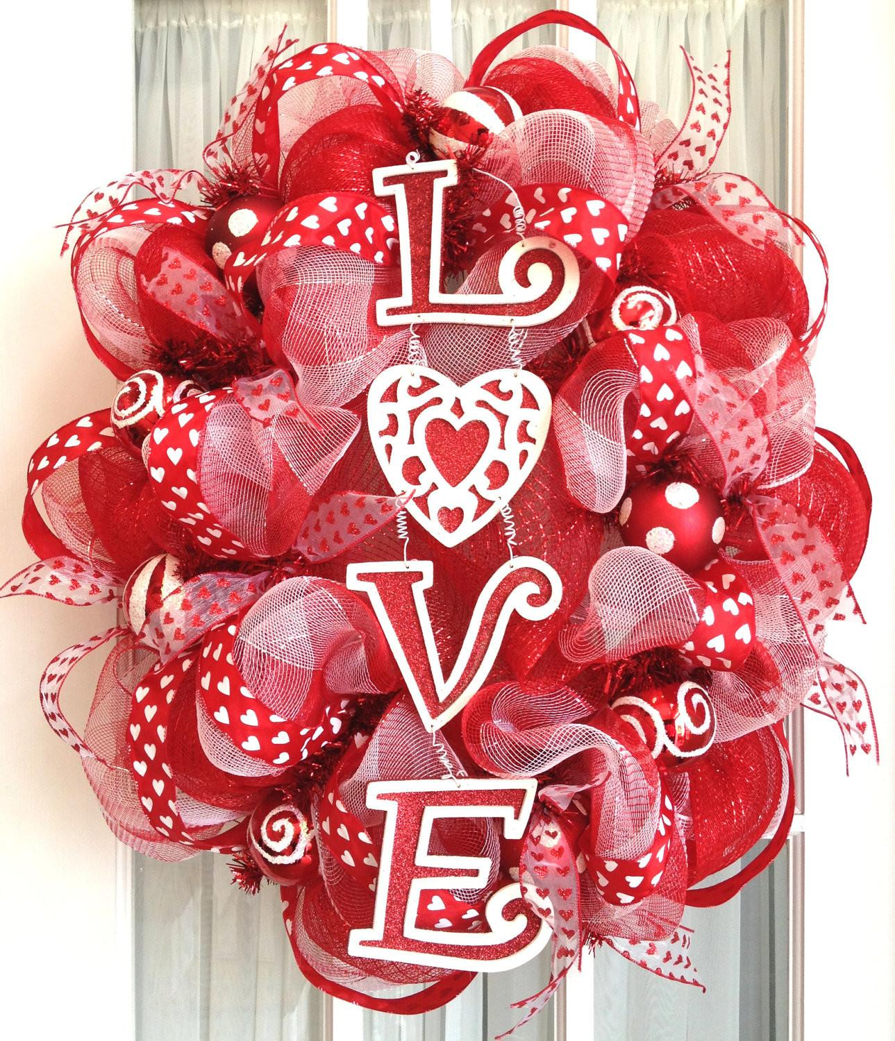 Oval Deco Mesh Wreath Valentine Day Southerncharmwreaths