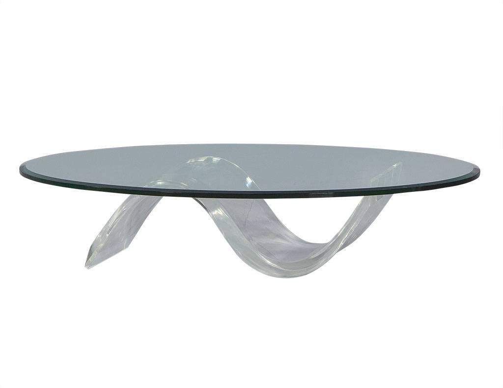 Oval Mid Century Modern Glass Lucite Cocktail Table 1stdibs