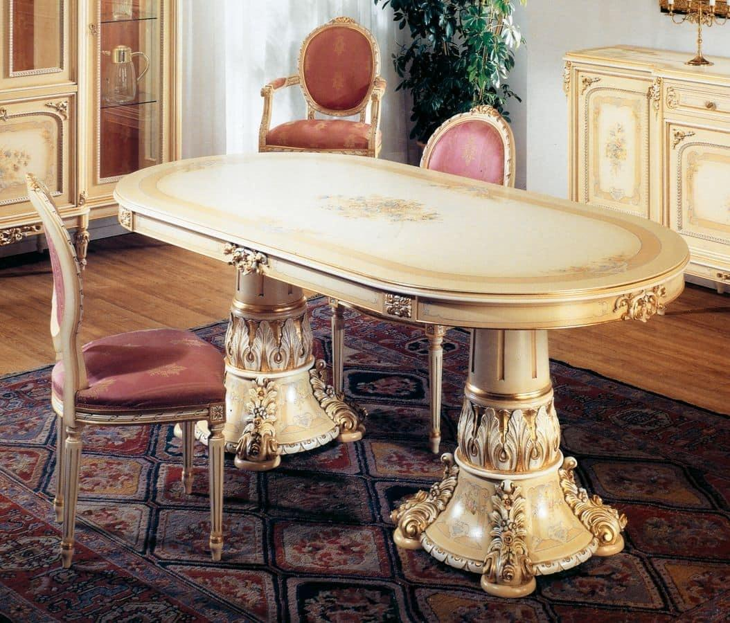 Oval Table Lacquered Light Ivory Patinated Gold