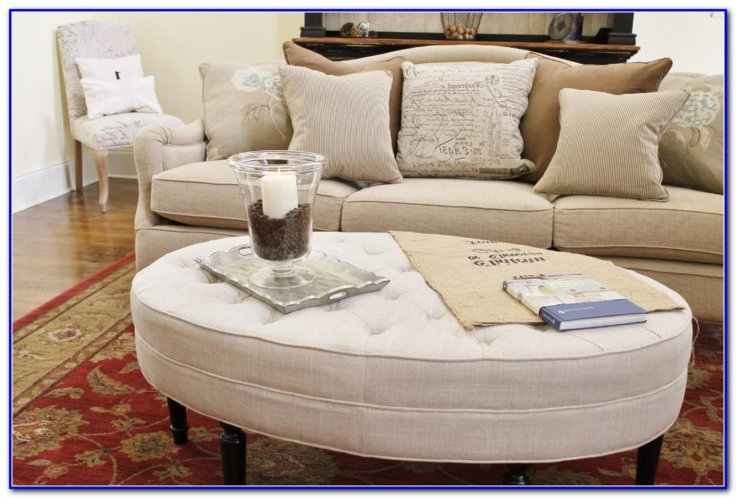 Oval Tufted Ottoman Coffee Table Home