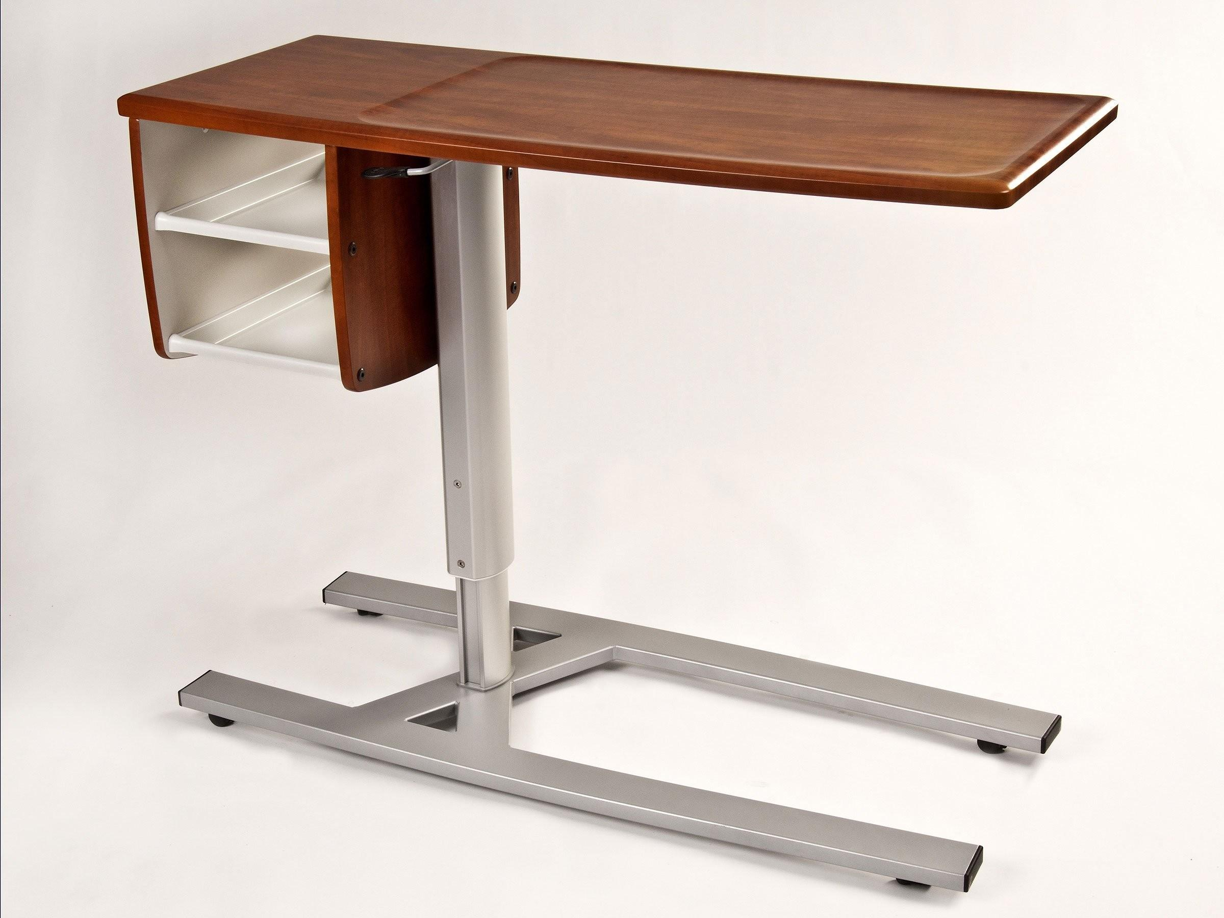 Over Bed Modern Hospital Tray Table Wooden Top