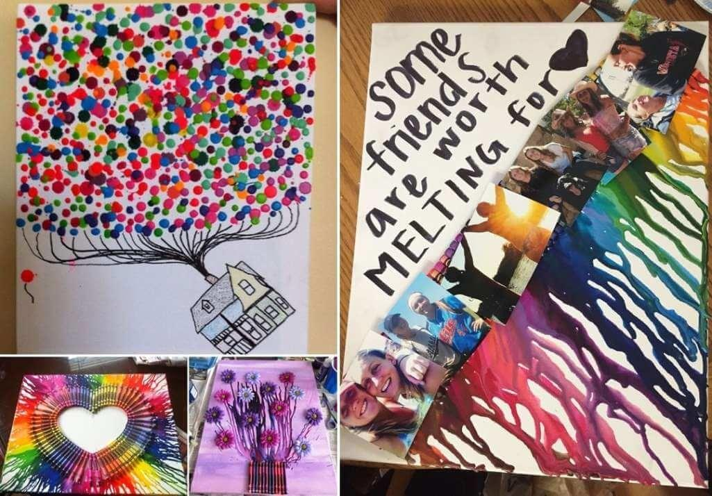 Over Colorful Melted Crayon Art Ideas