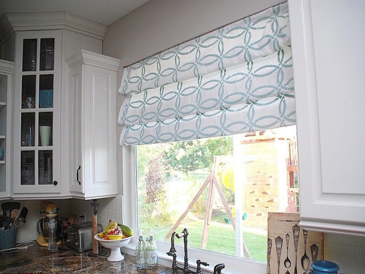 Over Kitchen Sink Curtains Faux Roman Shade