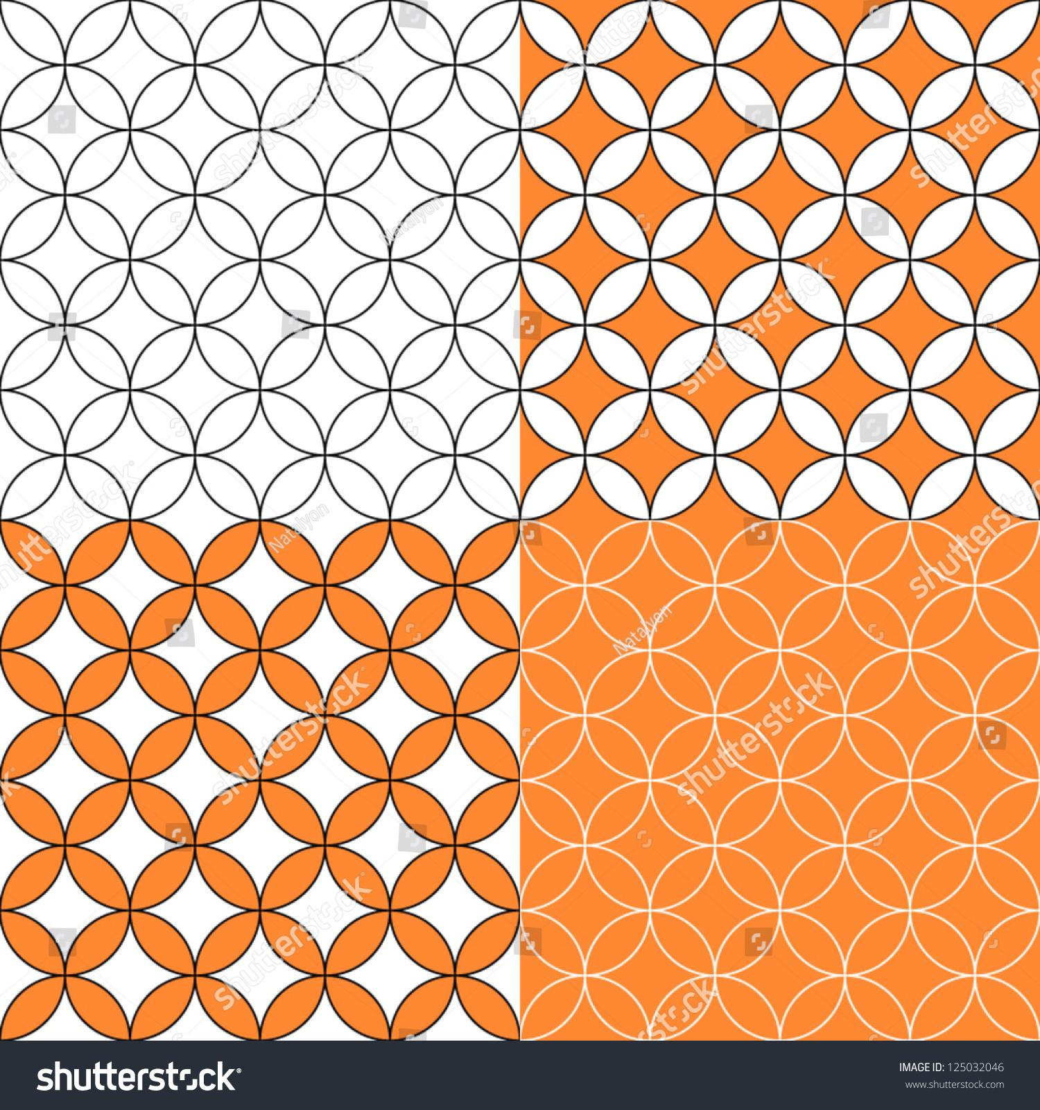 Overlapping Circles Seamless Pattern Four Colors Set