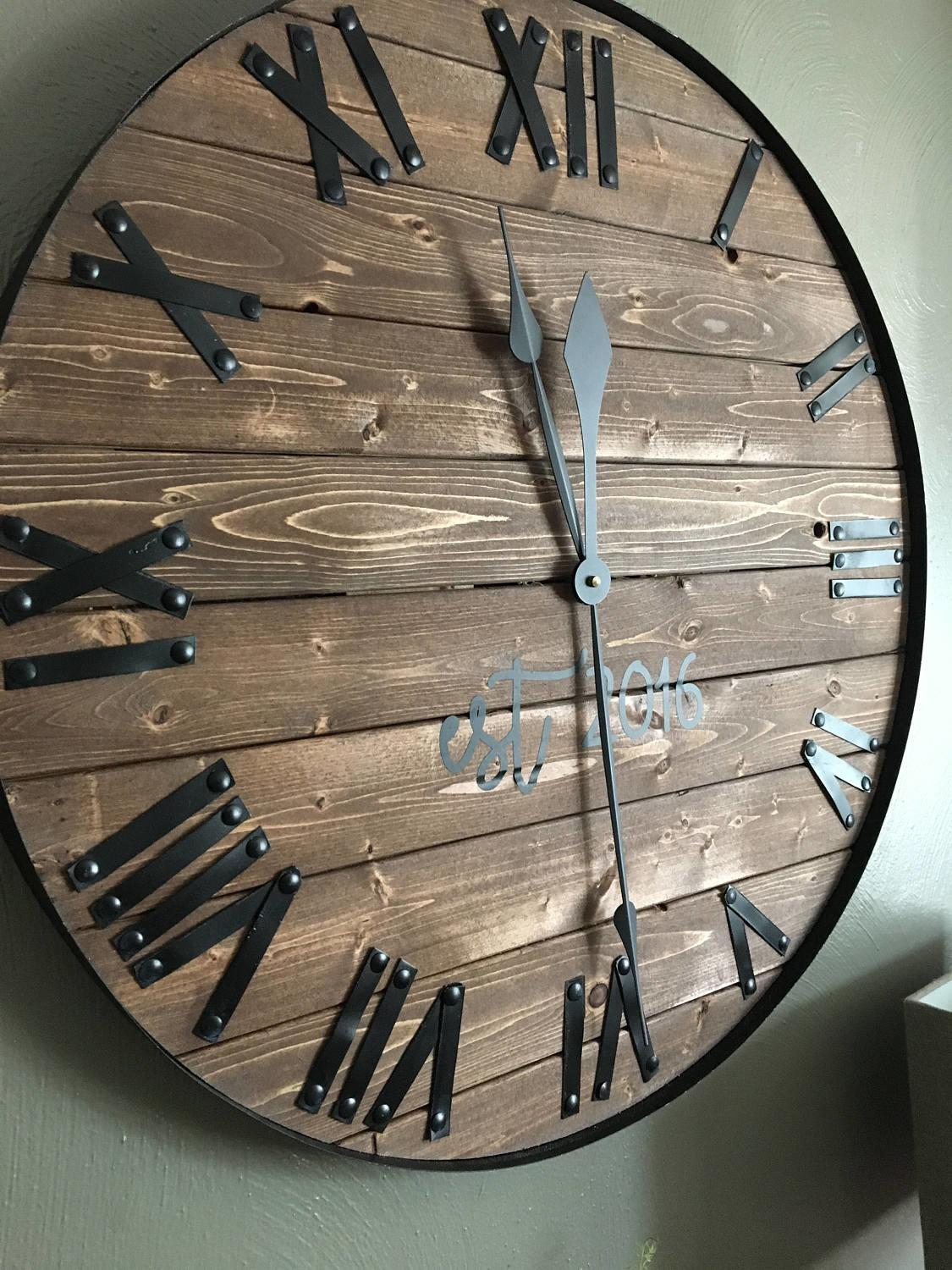 Oversized Wall Clock Farmhouse Barn Wood