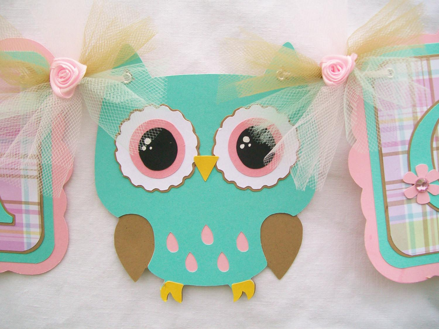 Owl Baby Shower Banner Decorations