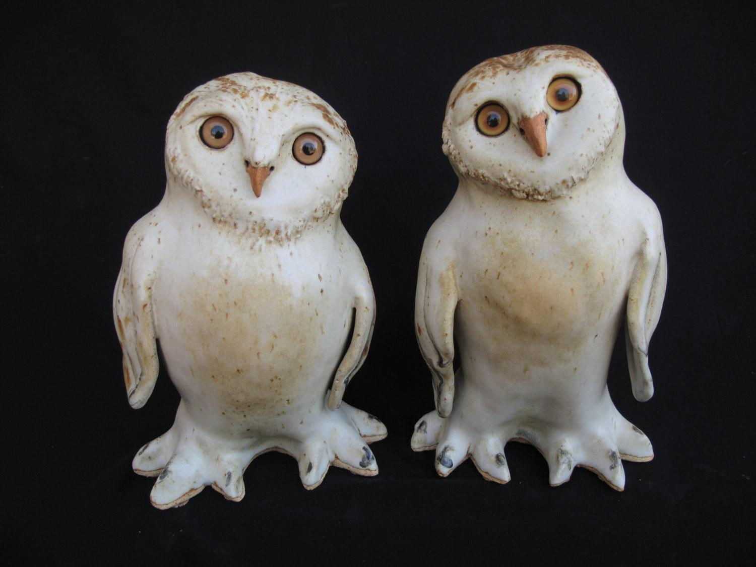 Owl Figurines Snowy Sculptures Clay Owls Home Decor
