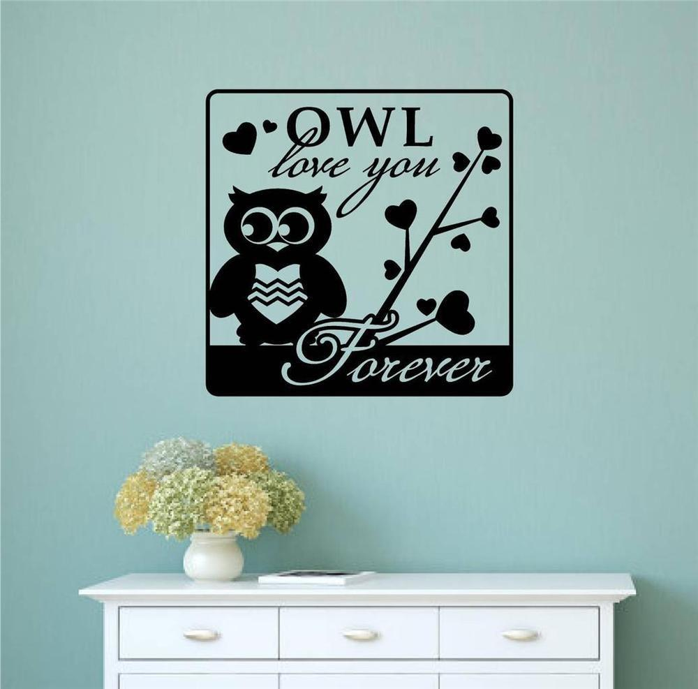 Owl Love Forever Vinyl Decal Wall Sticker Word Letter