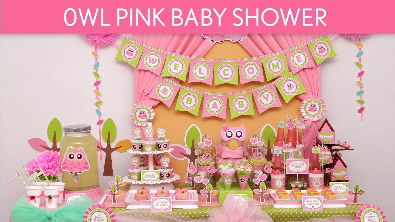 Owl Pink Baby Shower Ideas S23