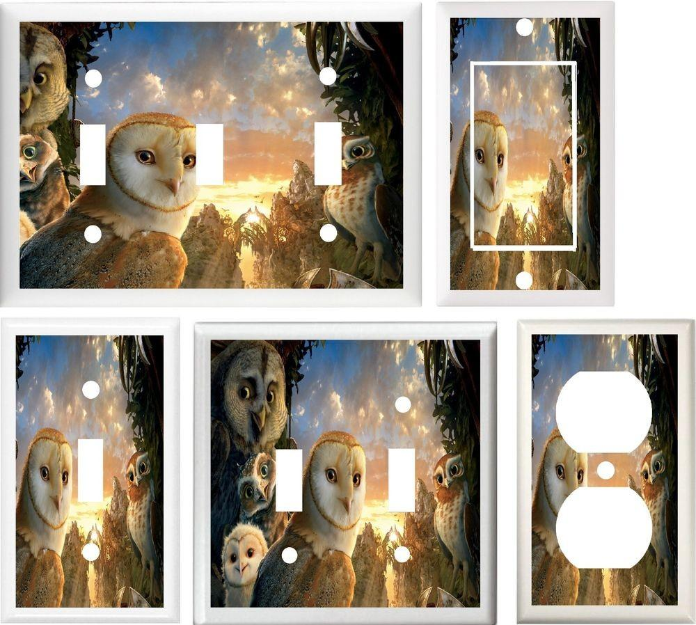 Owls Bird Cave Owl Sunset Sky Home Decor Switch Outlet
