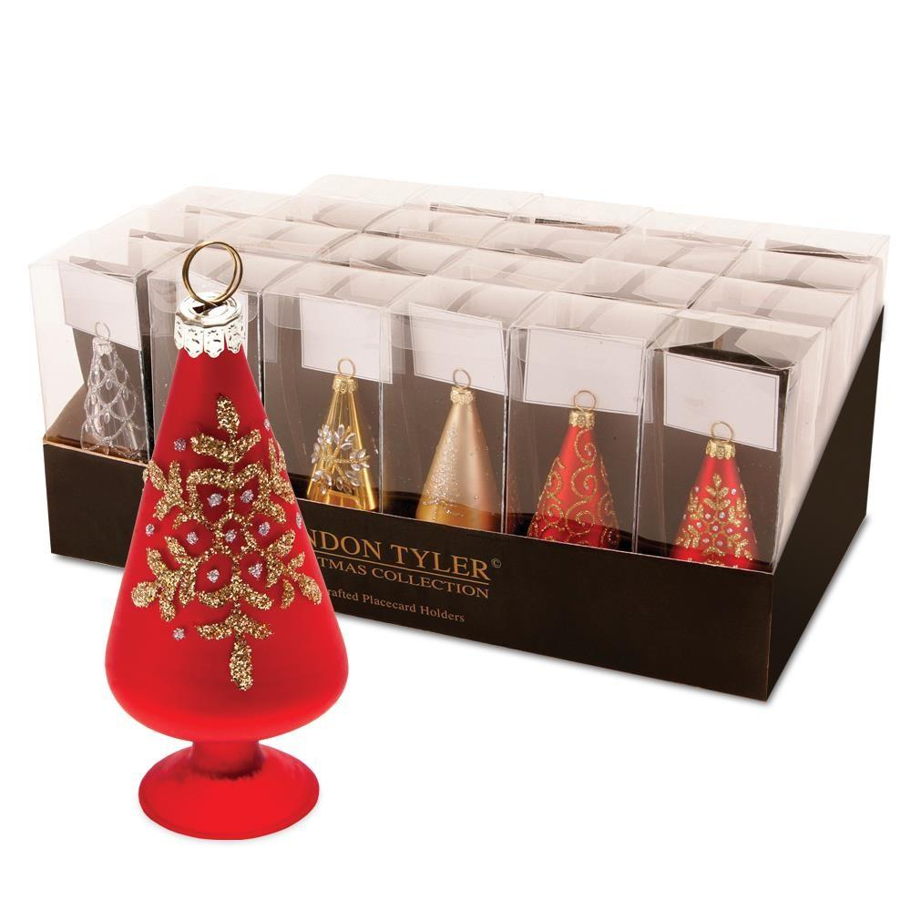 Pack Glass Christmas Tree Place Card Holders 10cm