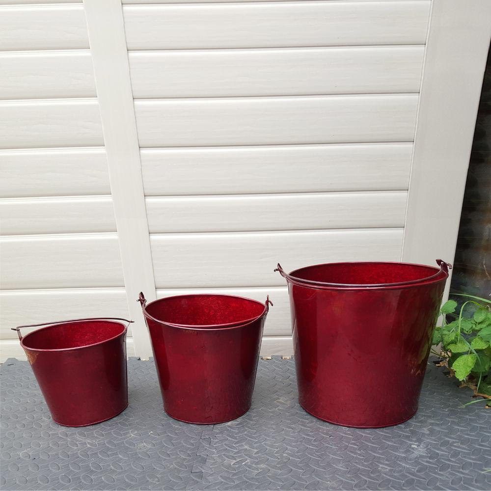 Pack Glossy Red Metal Buckets Decorative Galvanised