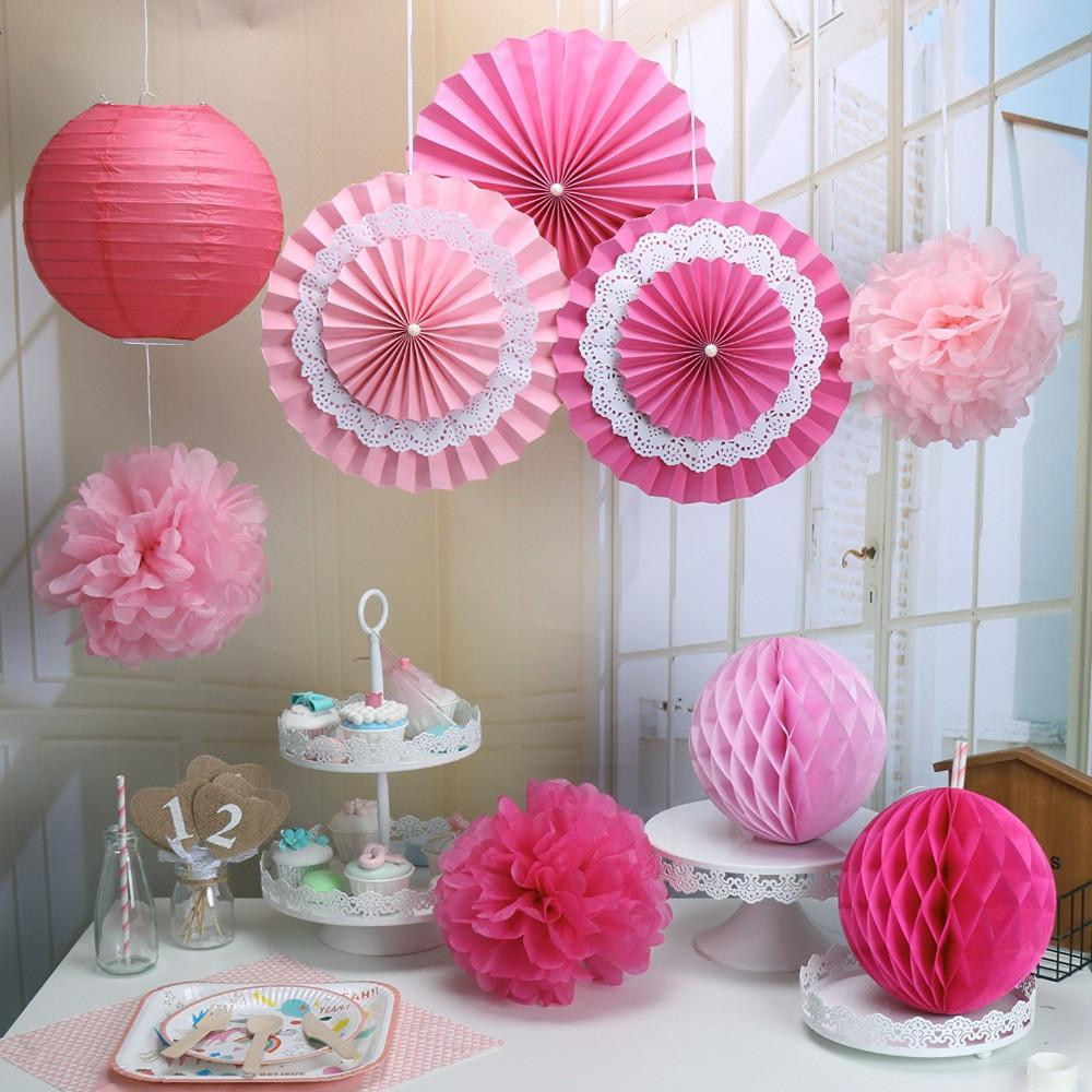Pack Rose Pink Paper Crafts Tissue Honeycomb