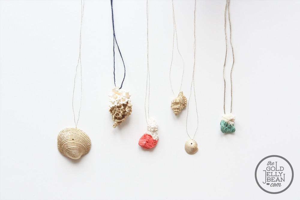 Paint Dipped Shell Coral Jewelry Gold Jellybean