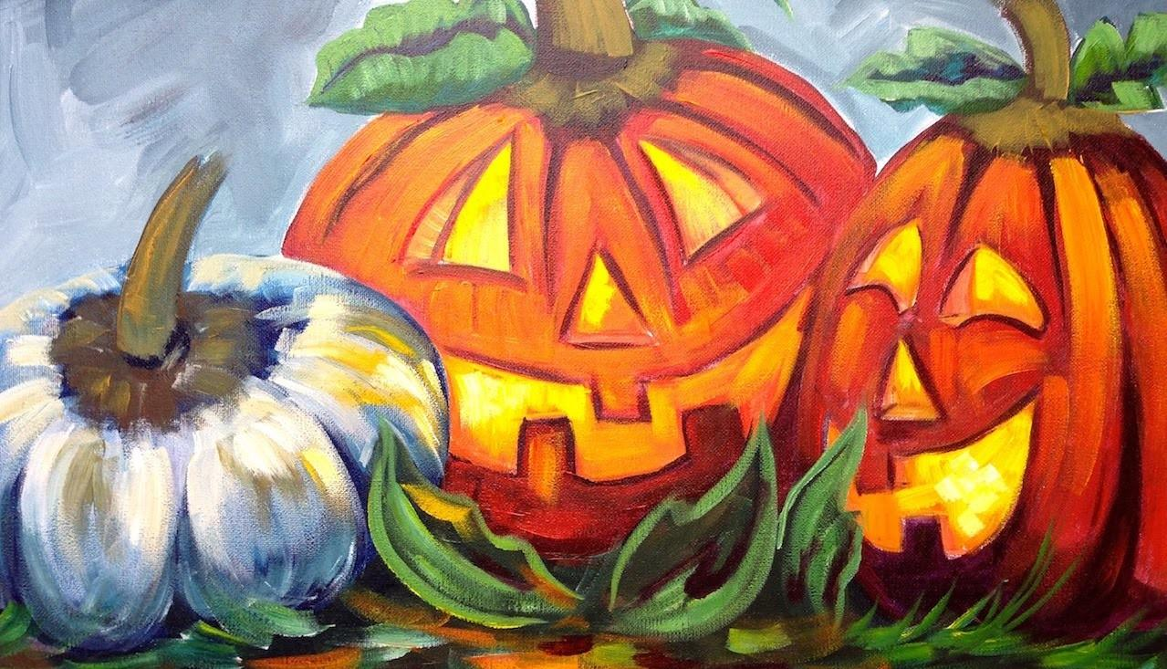 Paint Pumpkins Jack Lanterns Cute Halloween