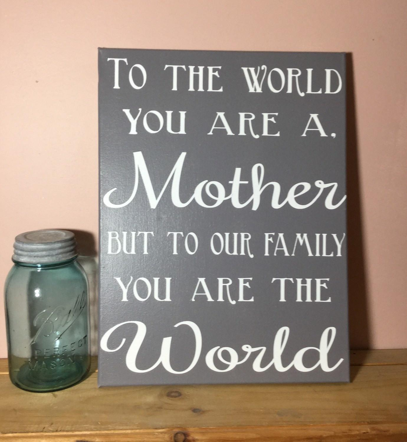 Painted Canvas Sign Mom Gift Mother