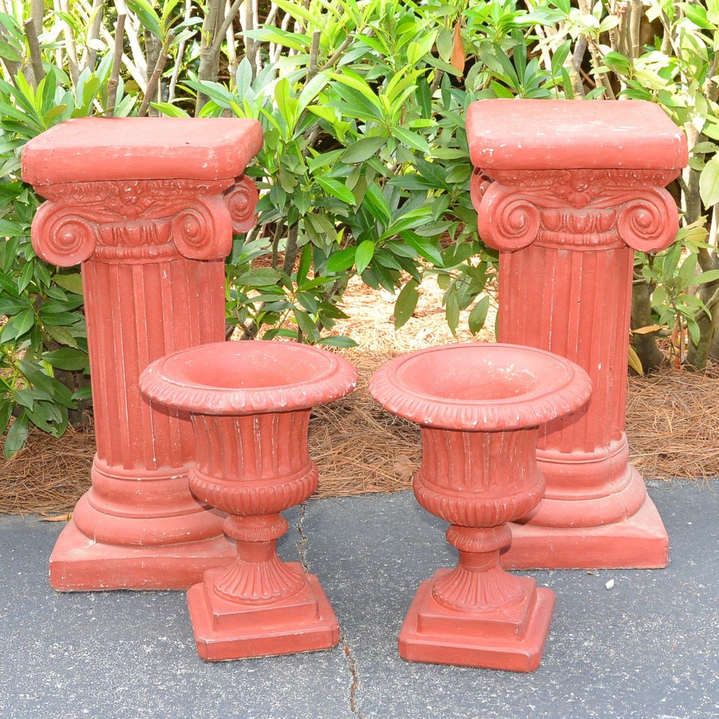 Painted Cement Planters Plant Stands Ebth