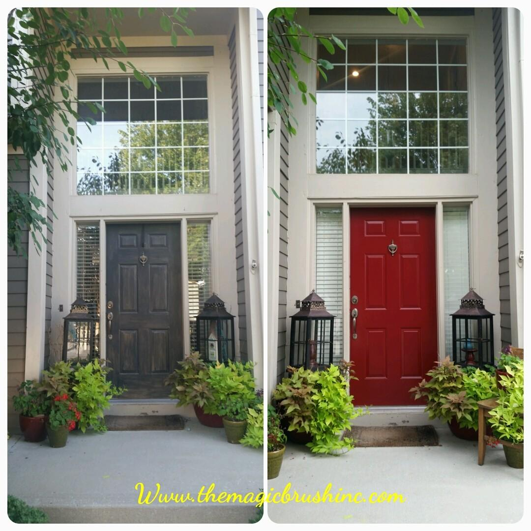 Painted Front Door Bold Red Color Magic Brush