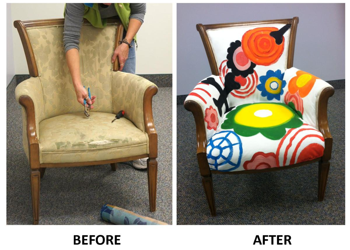 Painted Upholstered Storytime Chair Sunflower
