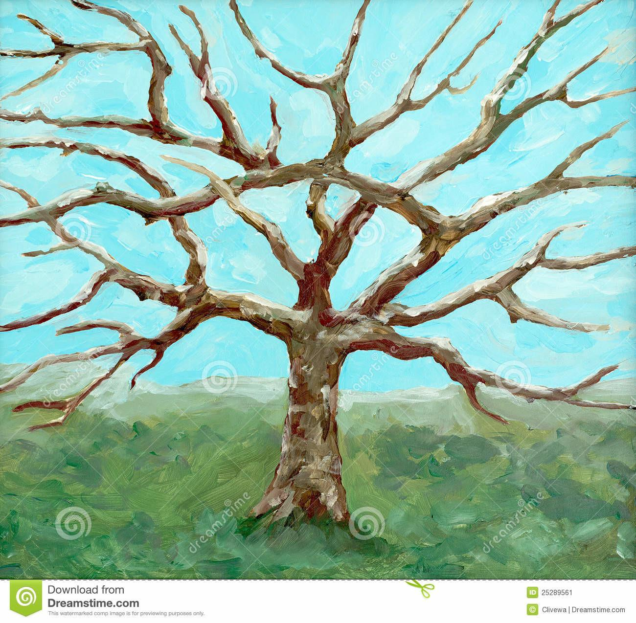 Painting Bare Leafed Tree Stock