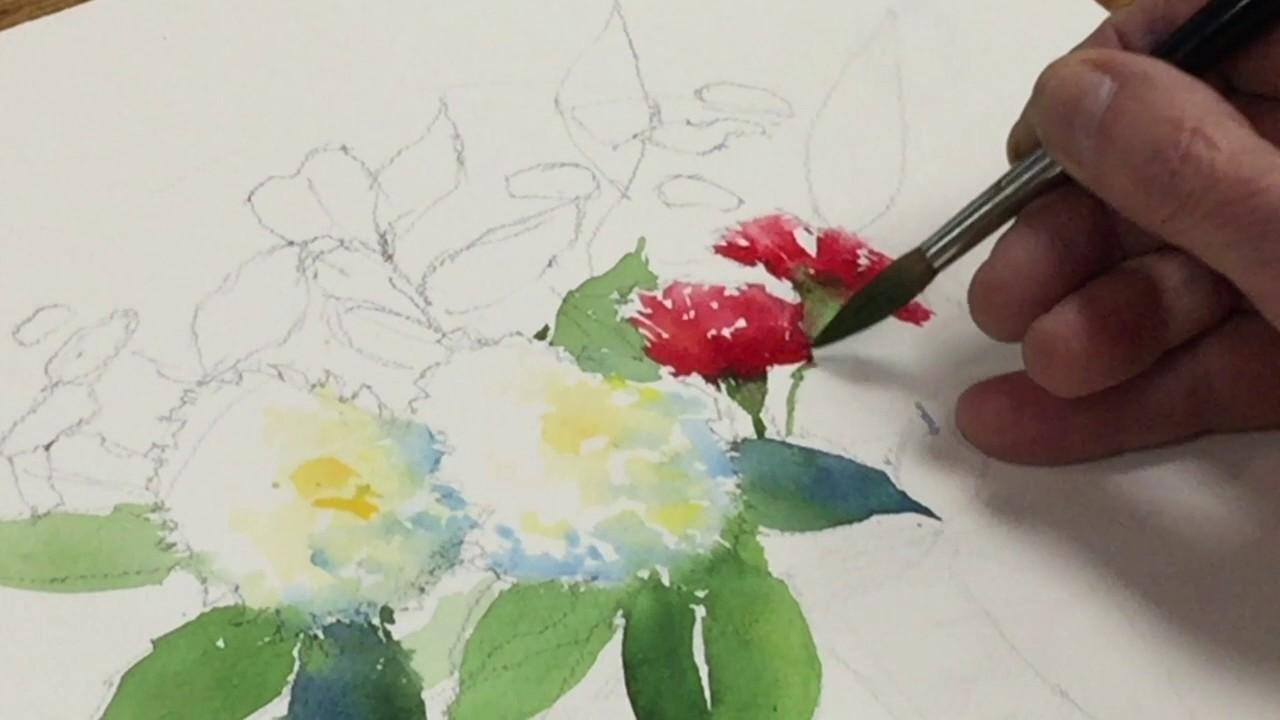 Painting Watercolor Still Life Flowers Fruit