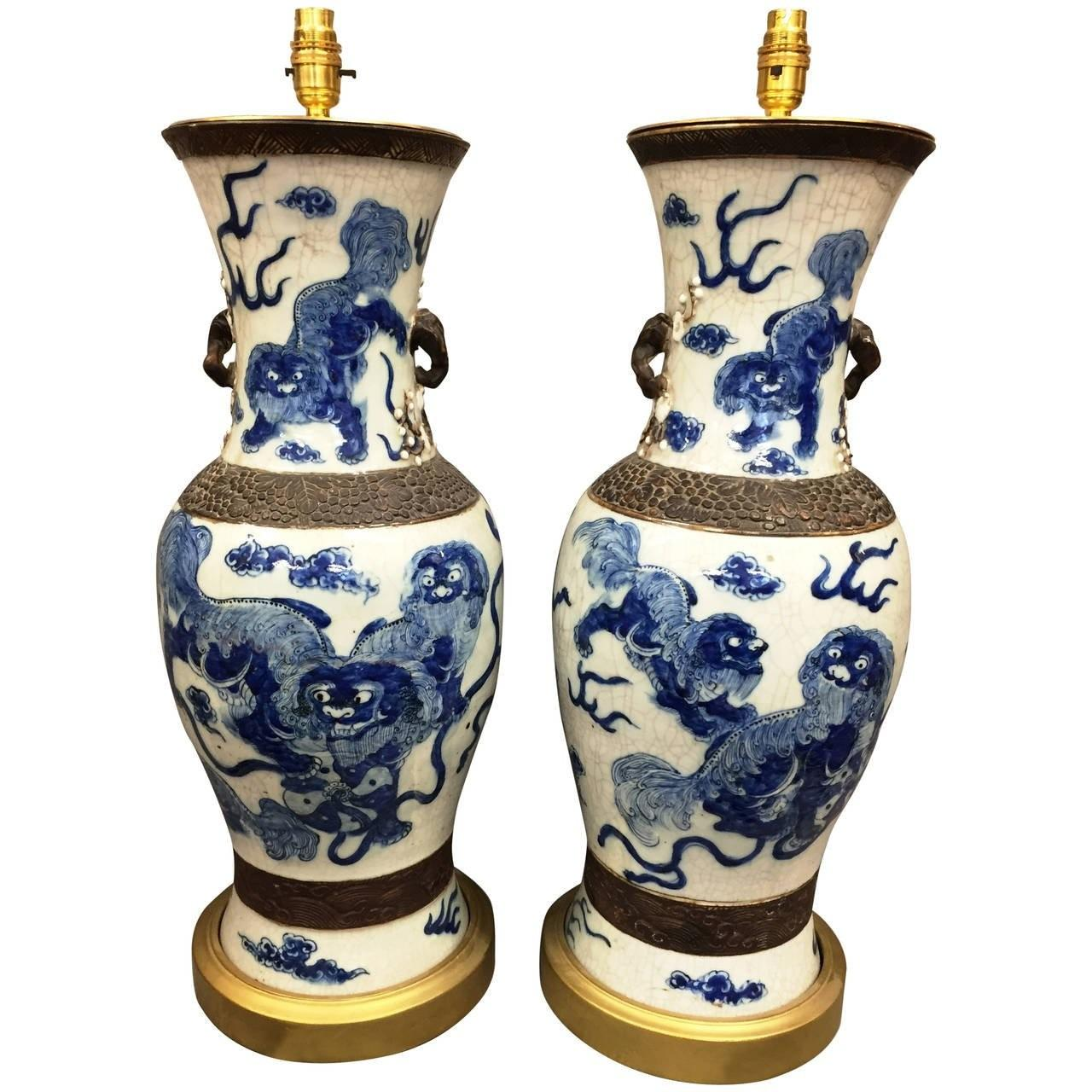 Pair 19th Century Chinese Blue White Vases Turned