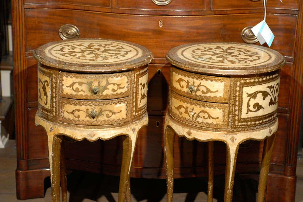 Pair 20thc Round Bedside Tables Cream Gold 1stdibs