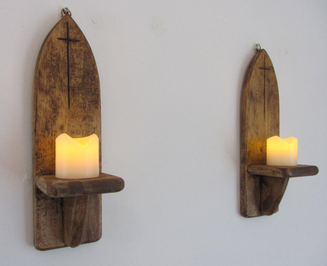Pair 30cm Tall Gothic Style Wall Sconce Candle Holders