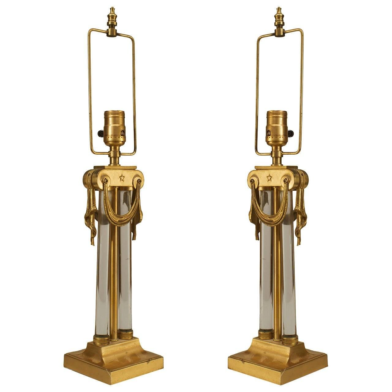 Pair American Art Moderne Brass Glass Column Table