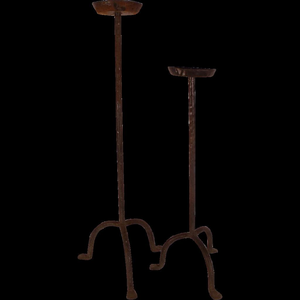 Pair Antique Gothic Wrought Iron Single Candle Stands