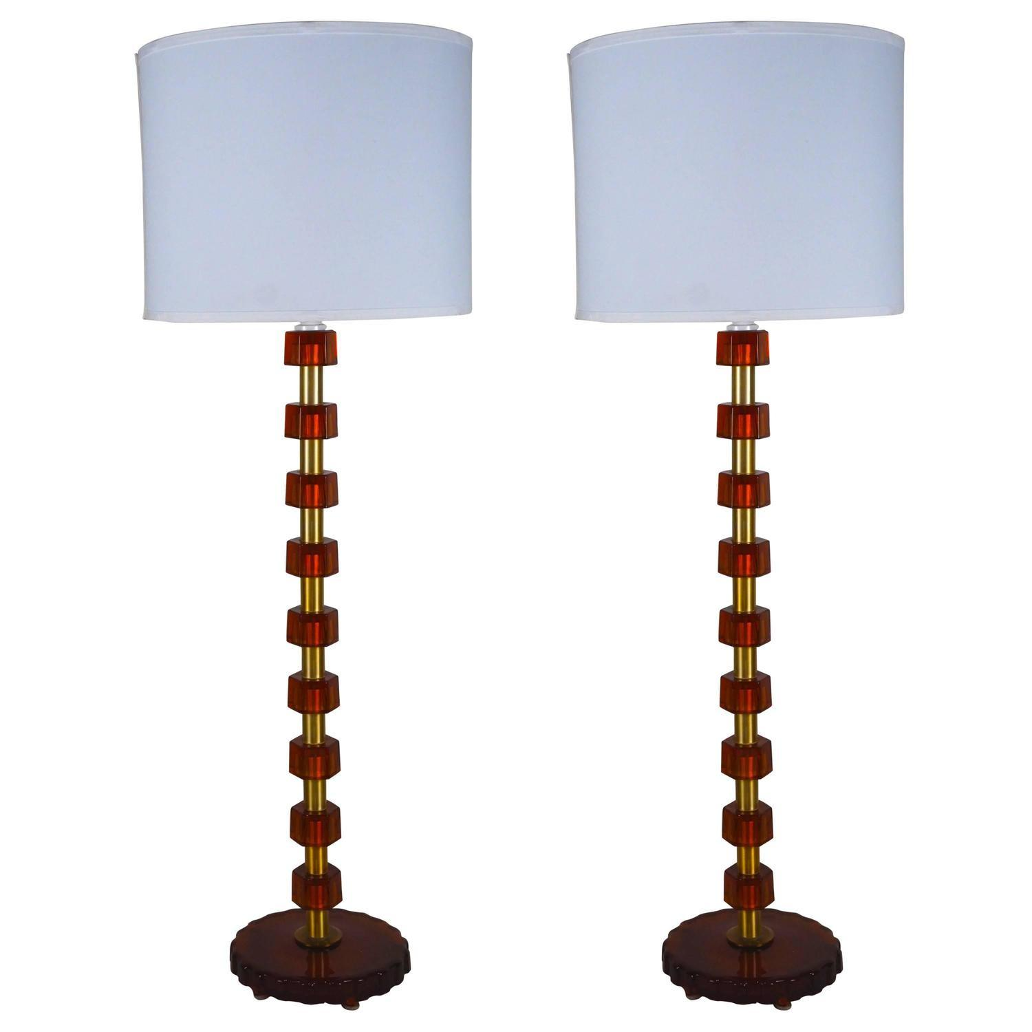 Pair Bergboms Tall Table Lamps Amber Glass