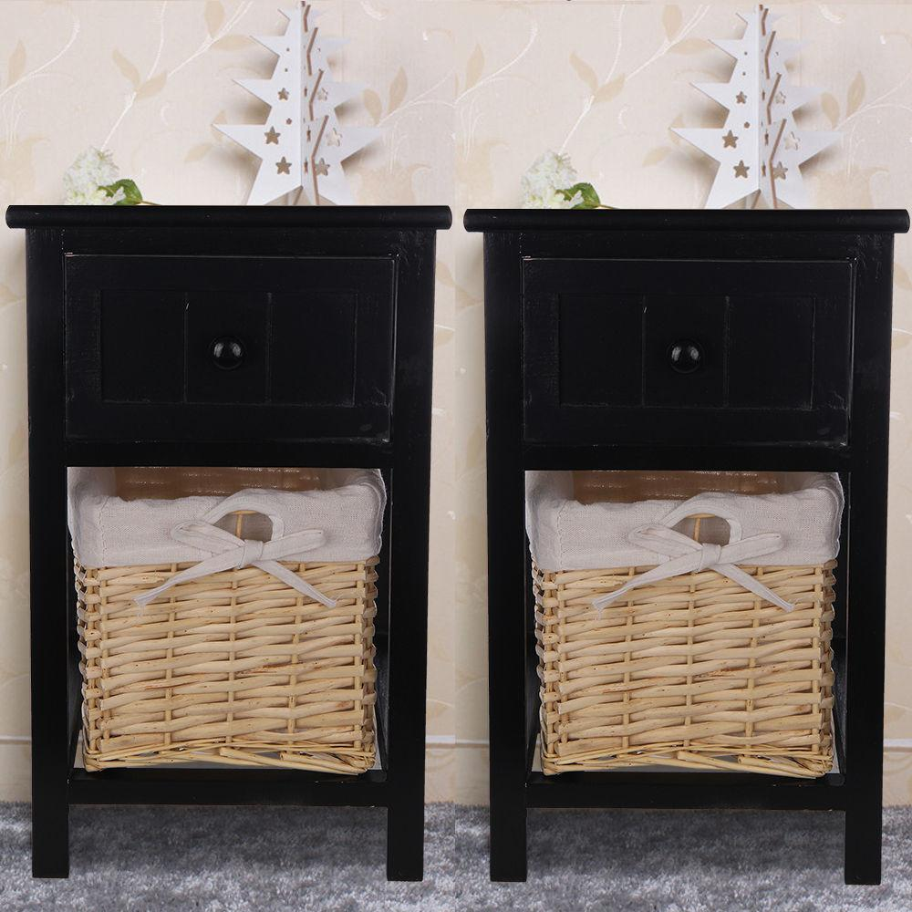 Pair Black Shabby Chic Bedside Unit Tables Drawers
