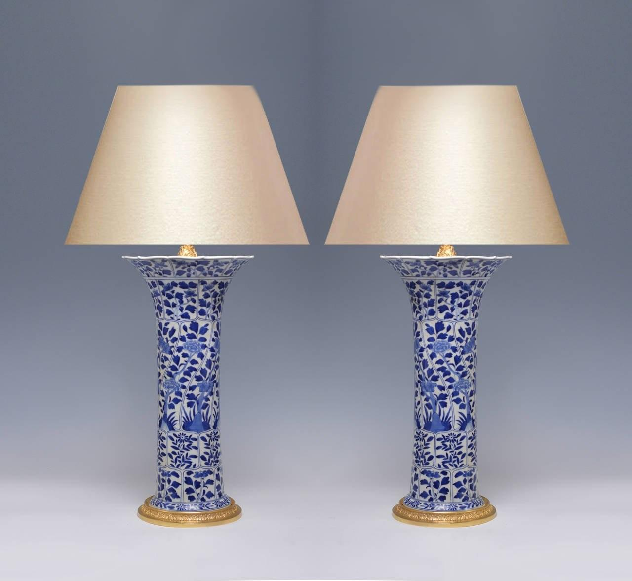 Pair Blue White Porcelain Lamps Gilt Brass