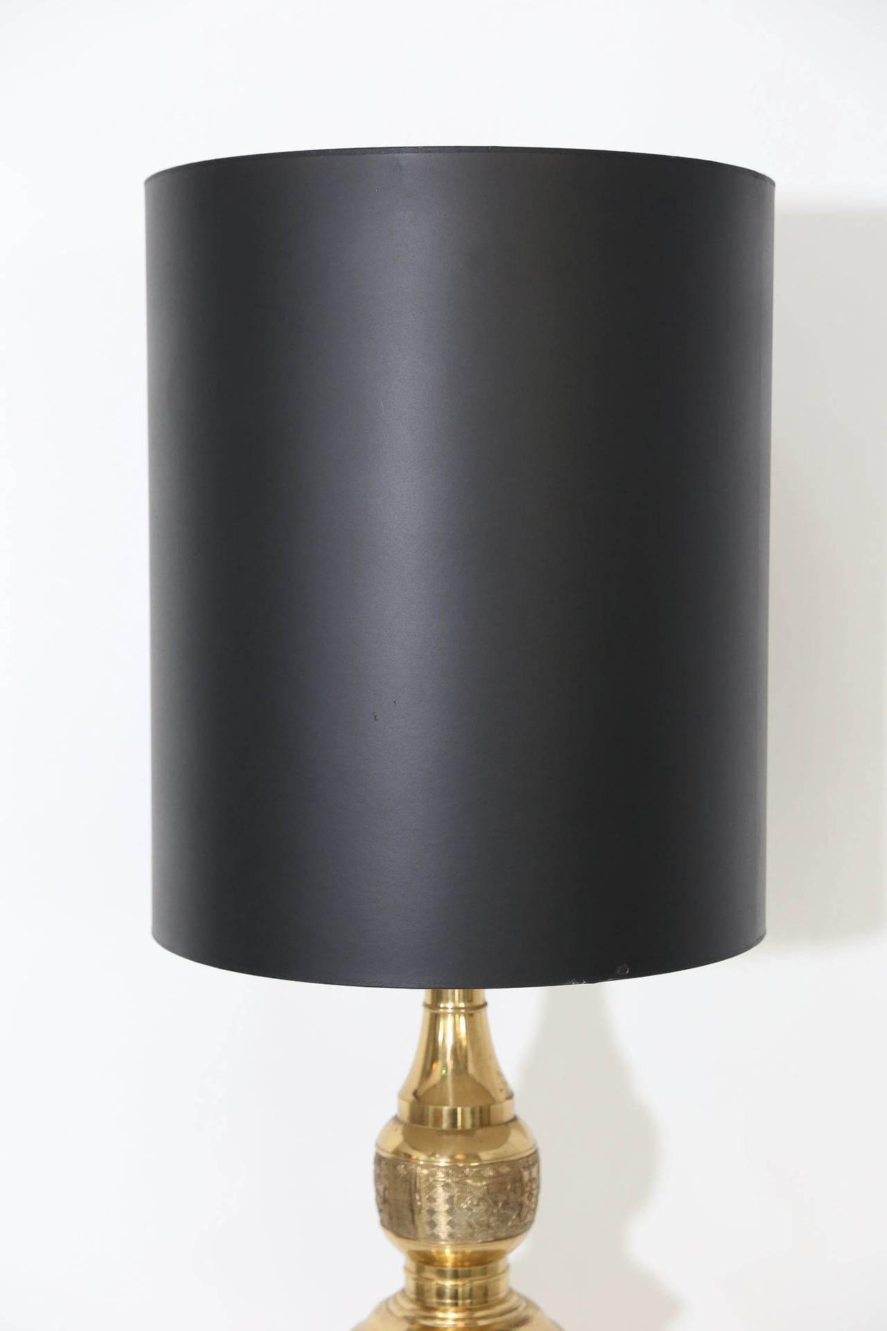 Pair Brass Monumental Table Lamps Style James