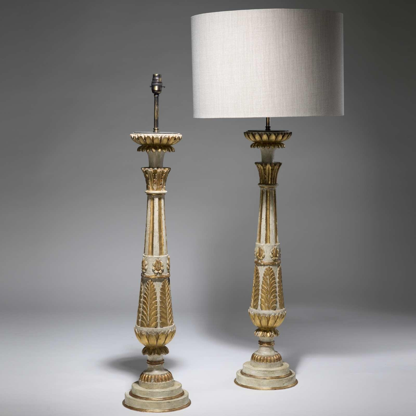 Pair C1820 Large Antique French Wooden Table Lamps