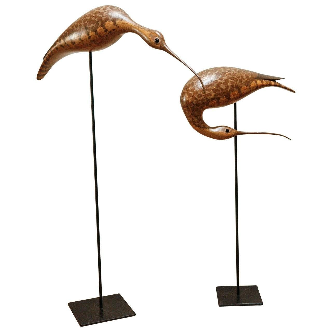 Pair Carved Wooden Birds Metal Stands 1stdibs