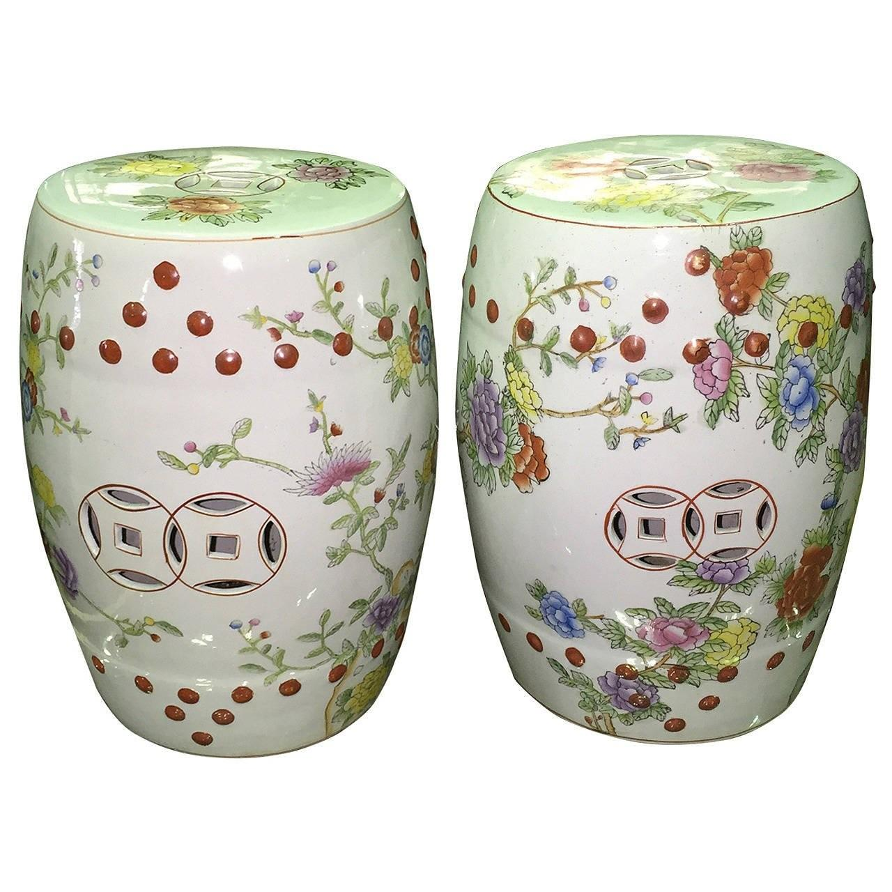 Pair Chinese Garden Drum Tables Stools 1stdibs