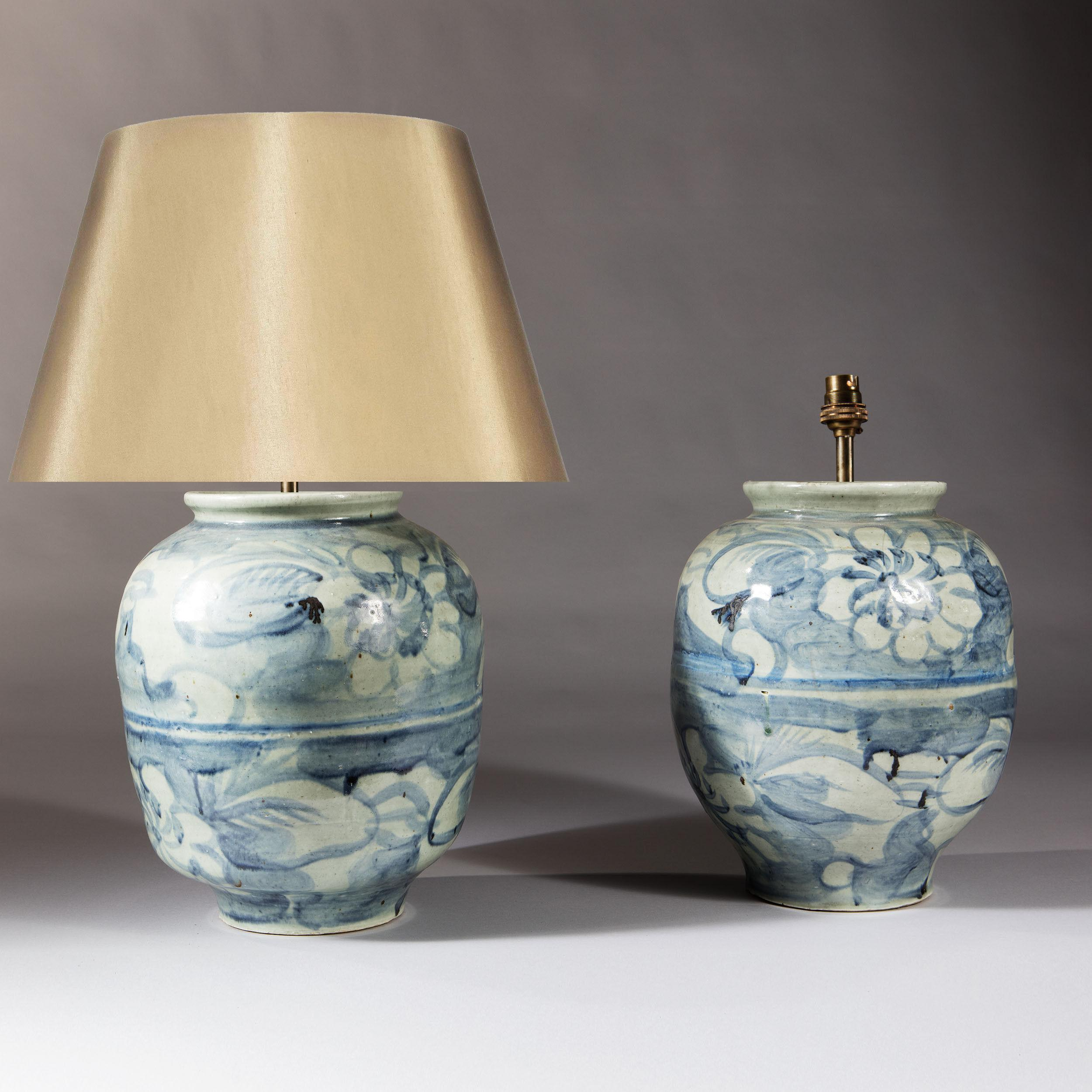 Pair Chinese Porcelain Blue White Vases Lamps