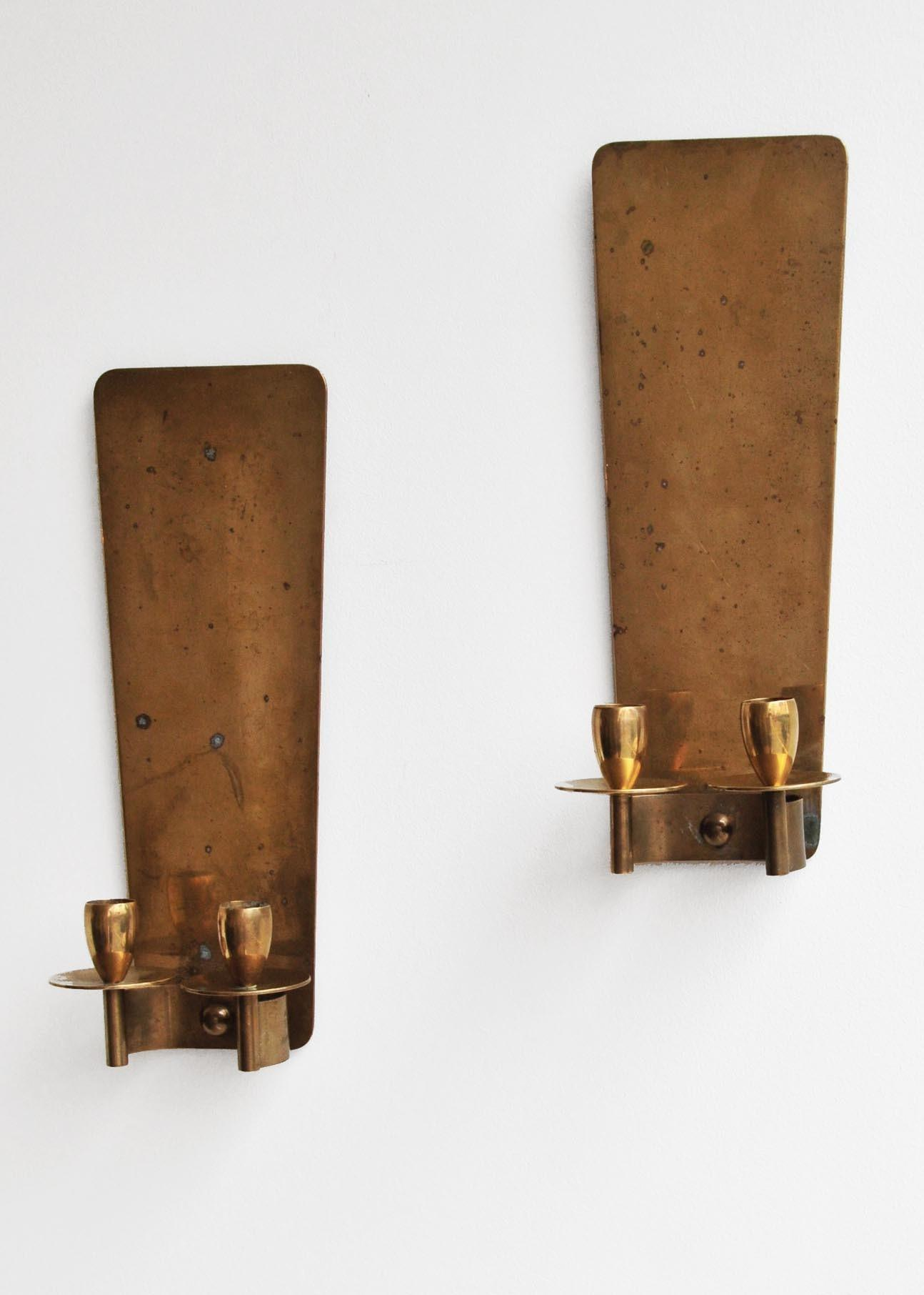 Pair Danish Dantorp Design Brass Wall Sconces Rose