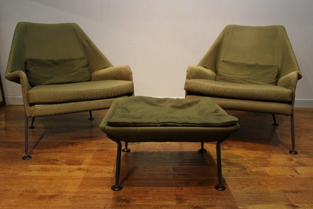 Pair Ernest Race Heron Chairs Footstool Pure