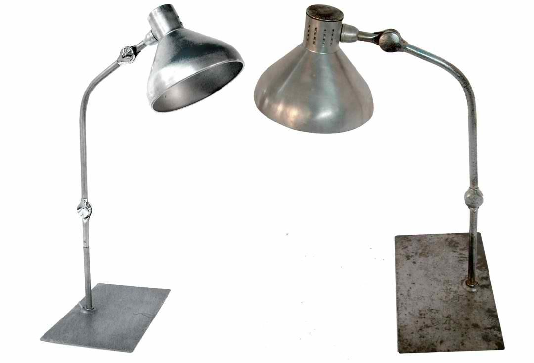 Pair French Modernist Industrial Desk Lamps Omero Home