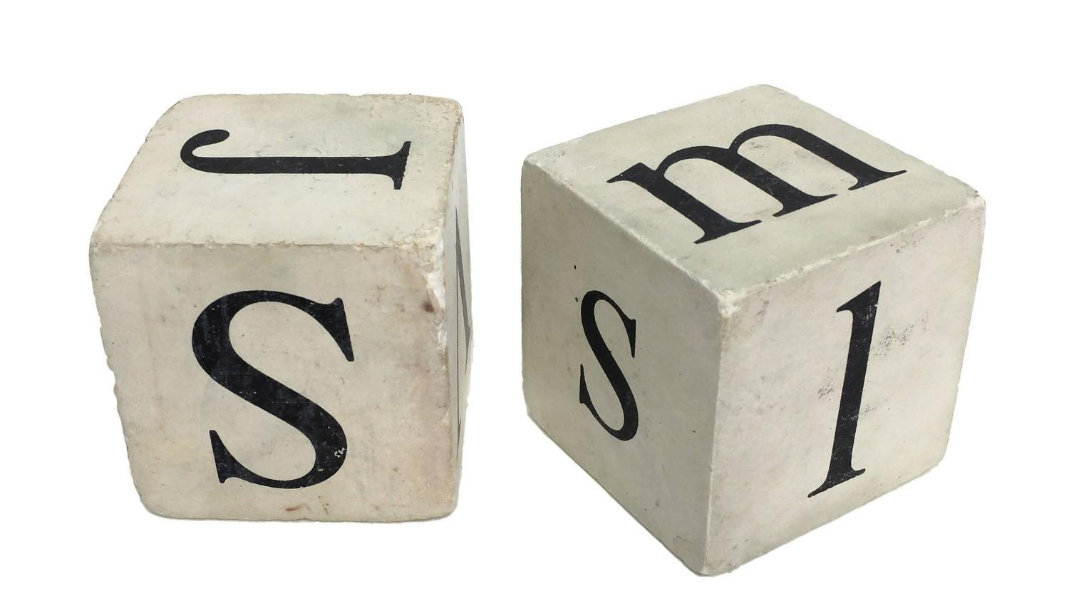 Pair Generous Sized Dice Letters Usa Circa 1900